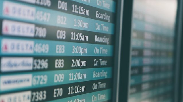 Airport departure times on screen