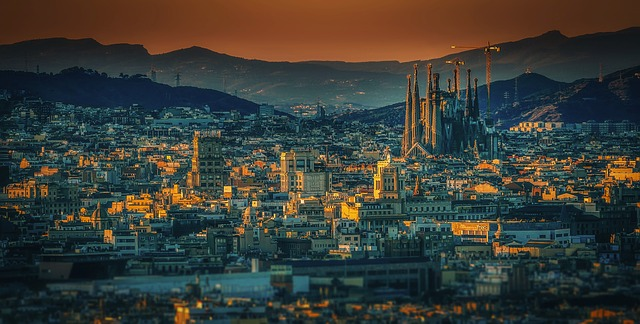 A beautiful view of Barcelona featuring La Sagrada Familia