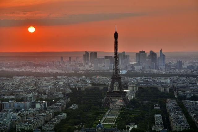 A sunset view to Paris featuring Eiffel Tower